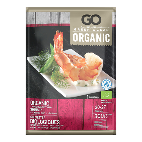 Green Ocean Organic Large Black Tiger Shrimp (Cooked – In-Shell & Tail On)